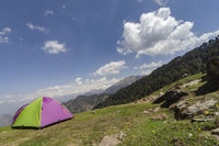 Camping Site and tent near Tungnath Base, Chopta, Garhwal, Uttarakhand, India