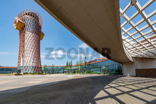 Tower against blue sky in exhibition center in Chengdu, China