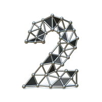 Wire low poly black metal Number 2 TWO 3D