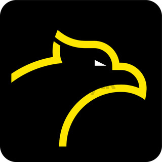 Eagle head yellow and black icon in geomeric style.