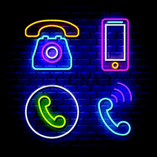 Phone communication neon signs collection