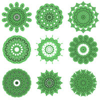 Green Ornamental Line Pattern. Round Texture. Oriental Geometric Ornament