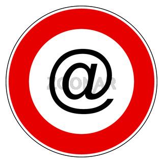 E-mail symbol und Verbotsschild - E-mail symbol and prohibition sign