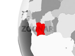 Ivory Coast on grey globe