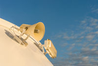 Loudspeaker mounted on exterior of cruise ship.