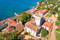 Dajla abandoned convent aerial panoramic coastline view