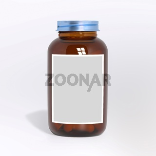 Blank glass medical bottle with tablets pills and label