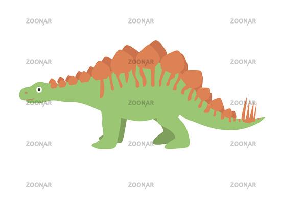 Stegosaurus icon flat style. Isolated on white background. Vector illustration
