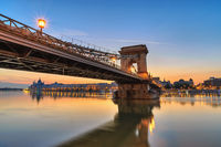 Budapest Hungary, Sunrise city skyline at Chain Bridge