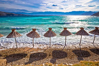 Idyllic turquoise beach in Baska view, Island of Krk