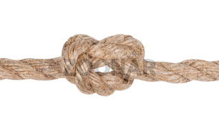 another side of Overhand knot tied on jute rope