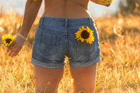 Girl wearing denim shorts holding sunflower in a sunny field