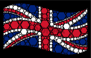 Waving UK Flag Pattern of Filled Hexagon Items