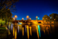 nightshot of the Berlin Moltke bridge over the river Spree