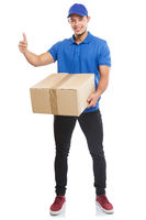 Parcel delivery service box package order delivering job success full body portrait isolated on white