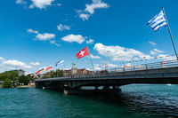 view of the Sternenplatz Bridge over the Rhine River connecting the two sides of Konstanz