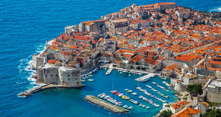View of the harbor and the old town of Dubrovnik Croatia