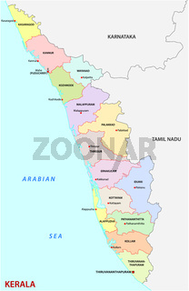 kerala district administrative and political vector map, India