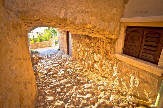 Town of Vrbnik historic stone steet passage view
