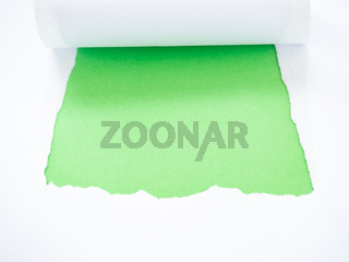Torn white paper isolated on green