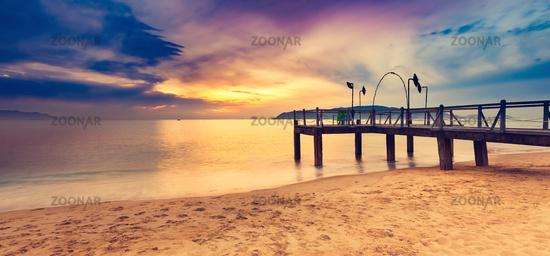 Sunrise over the sea. Amazing landscape. Panorama
