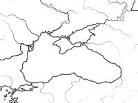 Map of The BLACK SEA basin: Black Sea, Azov Sea, Crimea & Circum-Pontic countries. Geographic chart.