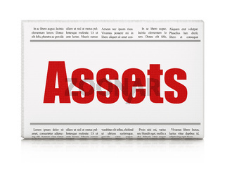 Banking concept: newspaper headline Assets
