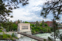 SPOKANE, WASHINGTON, USA - MAY 16, 2018: The Washington Water Power Upper Falls Power Plant in downtown Spokane