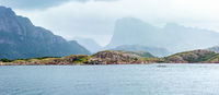 Ranfjorden summer cloudy view (Norway)