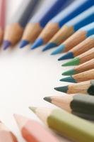 Colored pencils in a semicircle