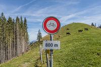 Prohibition sign, no bicycles, Gummenalp, Nidwalden, Switzerland