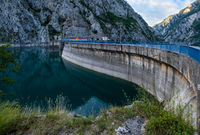 Mratinje Dam on Piva lake (Pivsko Jezero) view in Montenegro.