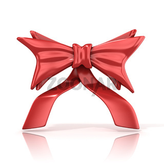 Red ribbon bow with tails, 3D