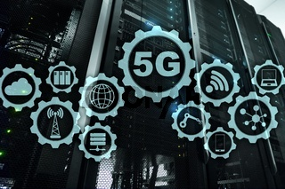 5G Network, 5G internet Connection Concept in digital background. Smart communication network concept.