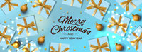 Christmas banner. Holiday horizontal background, header for website. Xmas blue background, design with realistic gift boxes, bauble, and golden ball. New Year's gifts top view.