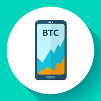 Exchange cryptocurrency in the phone, mobile application, bitcoin market platform icon, Bitcoin price increase, vector illustration.