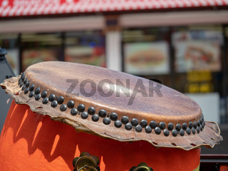 Close up of a Japanese taiko drum
