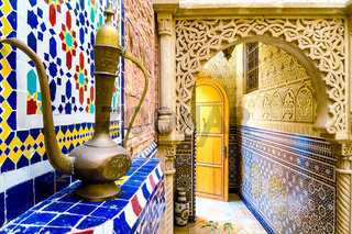 detail of the riad building in morocco, photo as background