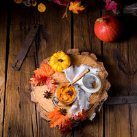 an autumnal rustic Canned Pumpkin,
