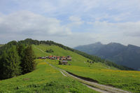 Idyllic Swiss village Obermutten in early summer.