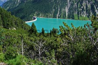 Zillertaler Alpen mit Schlegeisspeicher und Staumauer