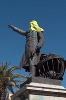 Yellow Vest symbol high on the memorial Francois Aragon, Pergignan