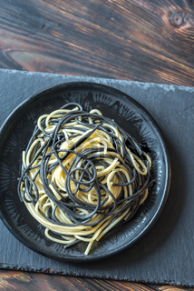 Mix of white and black pasta