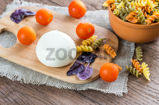 Colorful pasta with ingredients