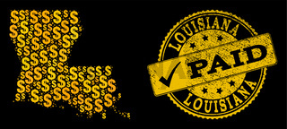 Golden Dollar Collage of Mosaic Map of Louisiana State and Paid Grunge Seal