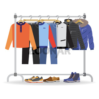 Clothes hanger with casual man clothes, footwear