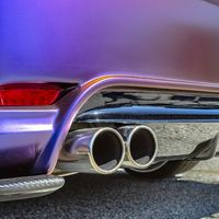 Purple car with dual exhaust pipe