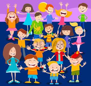 cartoon children and teens characters crowd