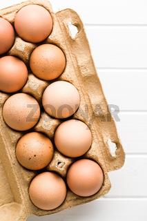 Raw chicken eggs.