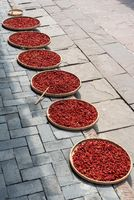 Red chili pepper drying on plates